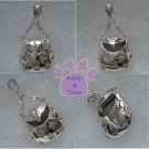 Handbag Sterling Silver Pendant with clear cubic zirconium OPENS purse charm