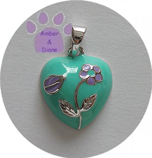 Heart with Flower Sterling Silver Pendant aqua and lavender charm