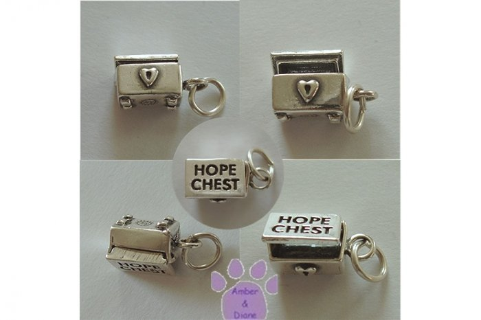 HOPE CHEST Sterling Silver Pendant hinged lid opens charm