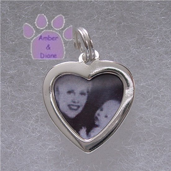 Photo Frame Pendant - Heart Shaped - Add your own picture sterling silver charm