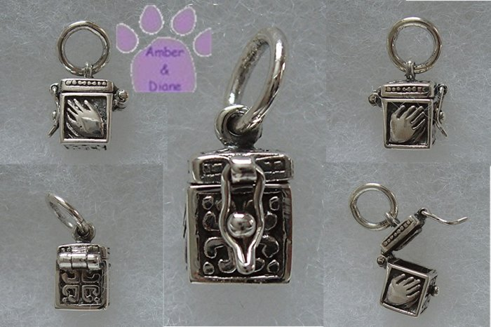 Prayer Box Sterling Silver Pendant with Praying Hands charm