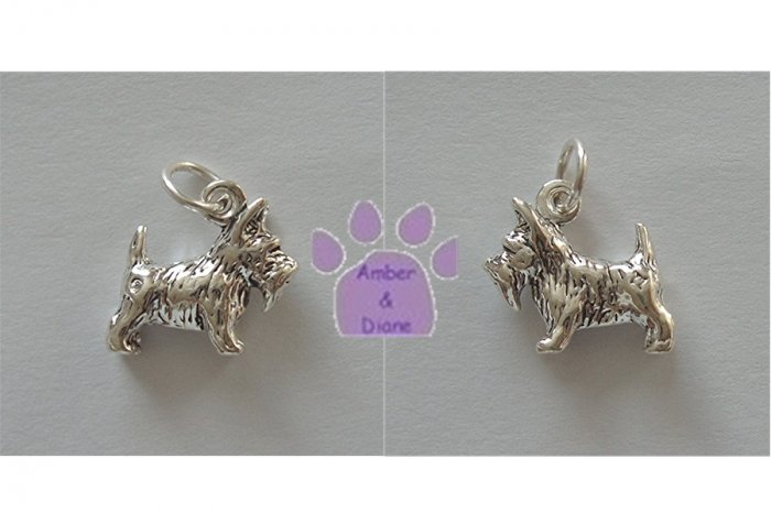 Scottish Terrier Sterling Silver Pendant - Scottie Dog charm