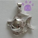 Tropical Fish Sterling Silver Pendant with clear cubic zirconium charm