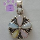 Multi-Color Mother of Pearl Flower Sterling Silver Pendant