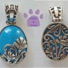 Genuine Turquoise Howlite Sterling Silver Flower Pendant reversible