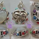 Mother of Pearl Sterling Silver Heart Pendant reversible - multi-gemstone