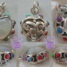 Mother of Pearl Sterling Silver Heart Pendant reversible - multi-gemstone