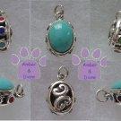 Turquoise Silver Pendant reversible - multi-gemstone