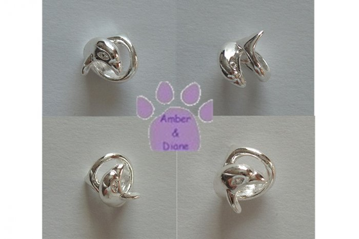 Dolphins Swimming Sterling Silver Slider or Bead two dolphins circling
