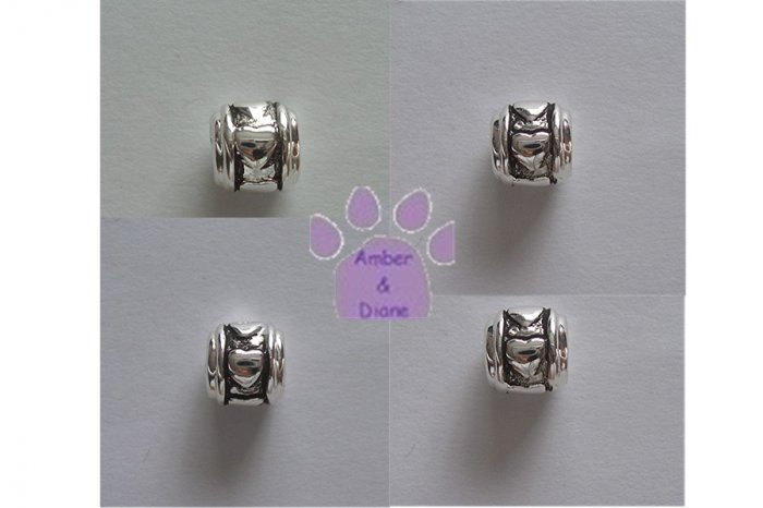 Hearts Sterling Silver Slider or Bead on a wheel shape