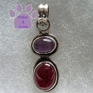 Amethyst and Garnet Sterling Silver Pendant Cabachon Gemstones charm