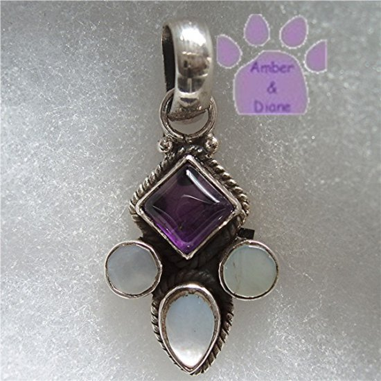 Amethyst and Mother of Pearl Sterling Silver Pendant charm