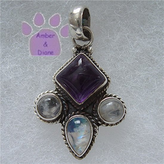 Amethyst and Rainbow Moonstone Sterling Silver Pendant charm