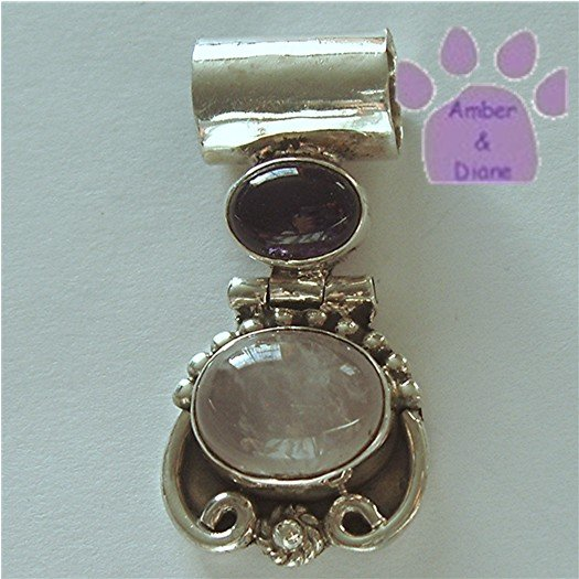 Amethyst and Rose Quartz Sterling Silver Pendant charm