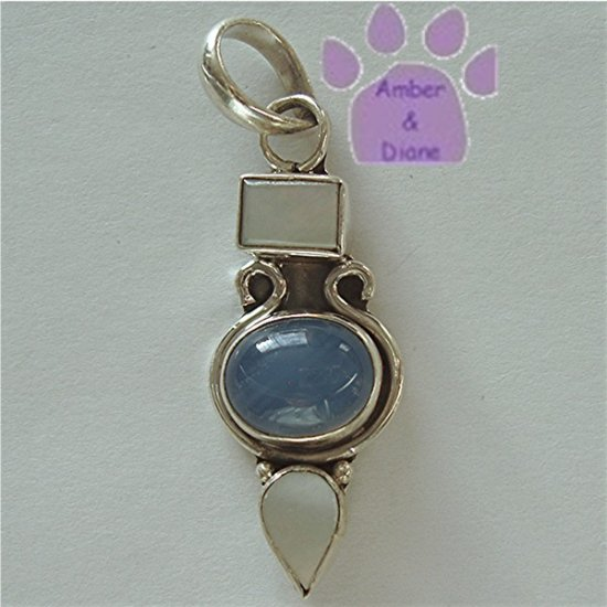 Mother of Pearl and Blue Agate Sterling Silver Pendant Triple Gemstones charm
