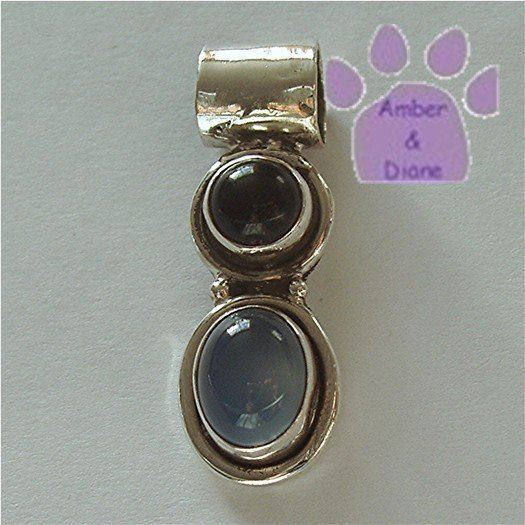 Onyx and Blue Agate Sterling Silver Pendant charm