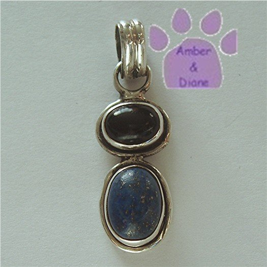 Onyx and Lapis Sterling Silver Pendant charm