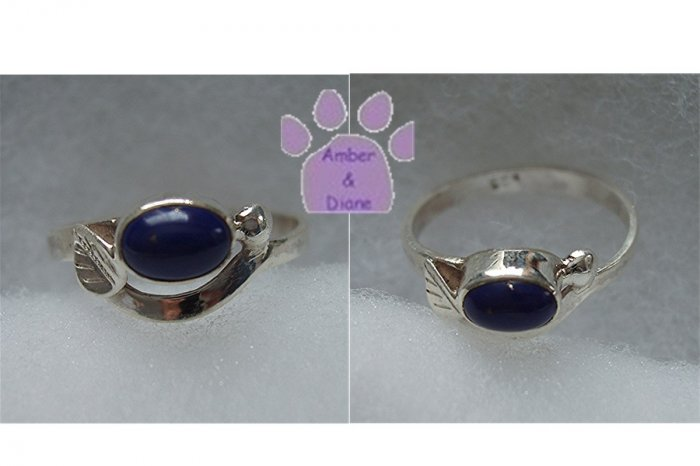Blue Lapis Sterling Silver Ring with leaf design size 8