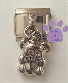 Doublesided Dangle Teddy Bear Italian Charm in silvertone