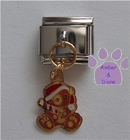 Teddy Bear Dangle Italian Charm in a Santa hat