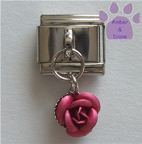 Deep Pink Rose Dangle Italian Charm symbol of love, gratitude