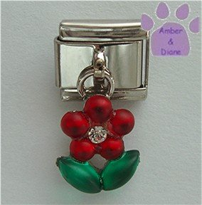 Ruby Red Flower Dangle Italian Charm green leaves - July Birthday