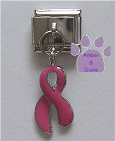 Pink Ribbon Dangle Italian Charm for Breast Cancer Awareness