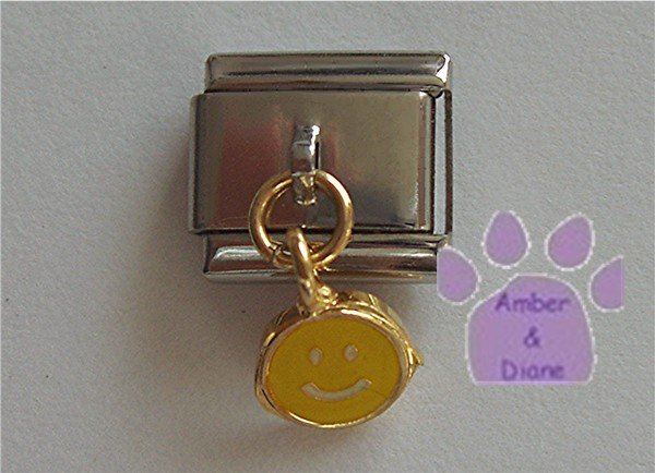 Yellow Smiley Face Dangle Italian Charm Happy Face