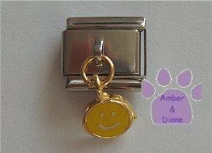Yellow Smiley Face Dangle Italian Charm Happy Face