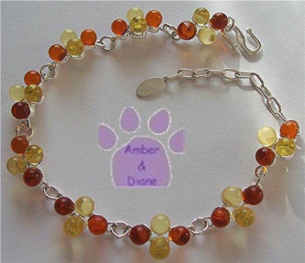 Cognac and Lemon Amber Sterling Silver Bracelet round amber drop