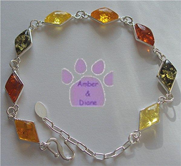 Honey, Cognac, Green and Lemon Amber Sterling Silver Bracelet
