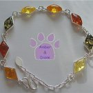 Honey, Cognac, Green and Lemon Amber Sterling Silver Bracelet