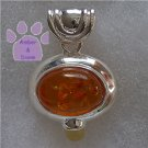 Cognac and Lemon Amber Oval Sterling Silver Pendant charm