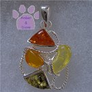 Cognac, Honey, Lemon and Green Amber Sterling Silver Pendant charm