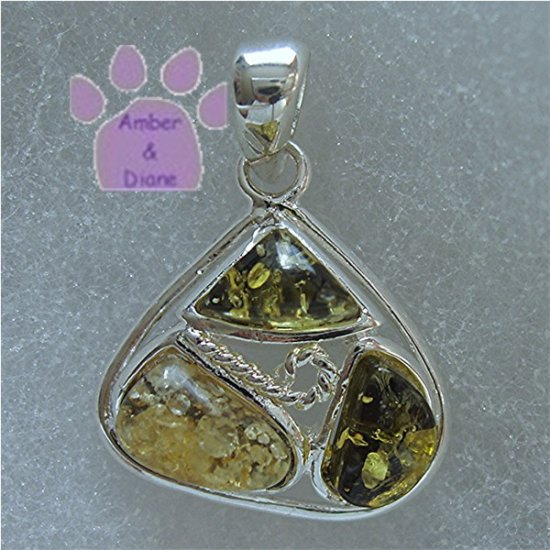 Green Amber Triangular Sterling Silver Pendant charm