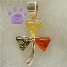 Green, Lemon and Honey Amber Sterling Silver Pendant shamrock clover charm