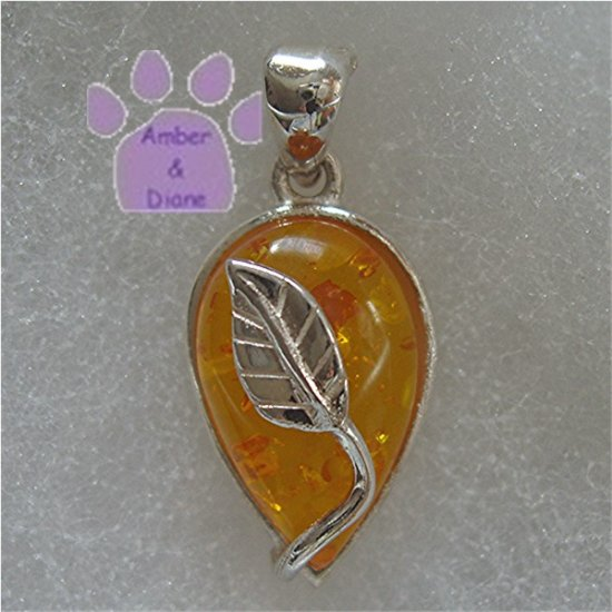 Honey Amber Teardrop Sterling Silver Pendant with silver leaf design charm