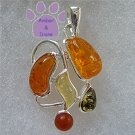 Honey, Lemon, Green and Cognac Amber Sterling Silver Pendant charm