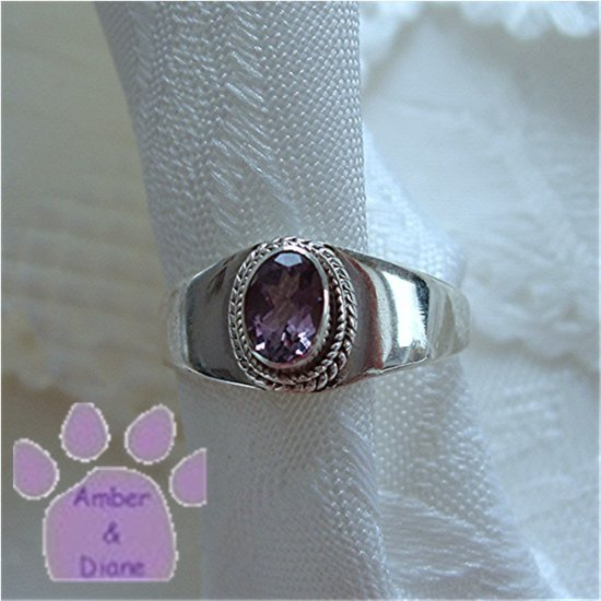 Amethyst Sterling Silver Ring with beaded frame size 6.75