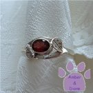 Garnet Sterling Silver Ring with leaf design size 9