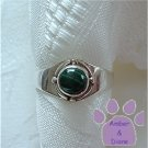 Malachite Sterling Silver Ring with simple design size 5.5