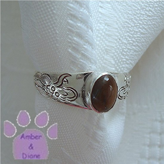 Tiger Eye Sterling Silver Ring DRAGONS engraved on band size 9