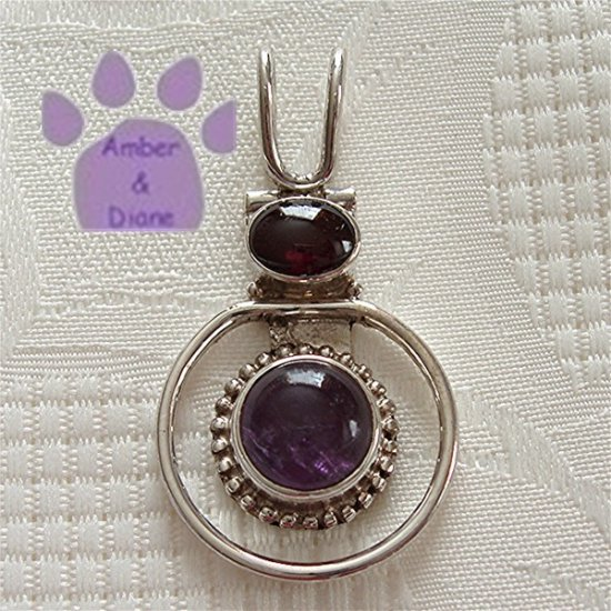 Amethyst Round and Garnet Oval Sterling Silver Pendant charm