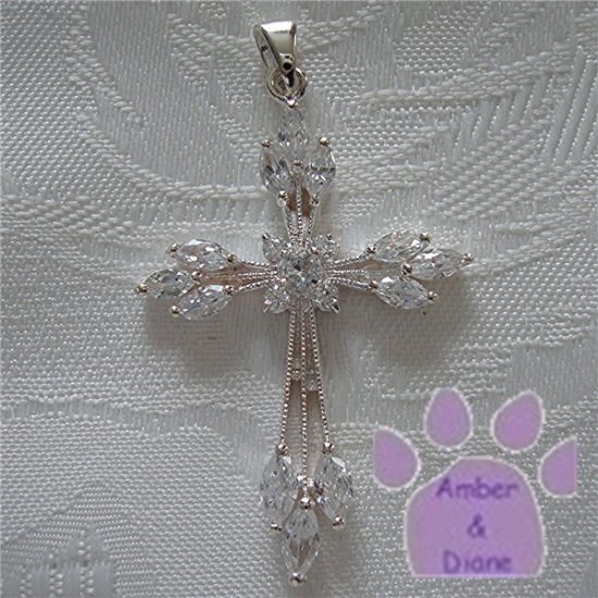 Cross Sterling Silver Large Pendant with Marquise Cubic Zirconia