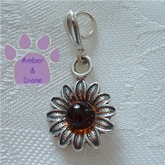 Amber Flower Sterling Silver Pendant charm in a simple frame