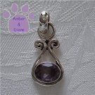 Amethyst Oval Sterling Silver Pendant in a simple frame