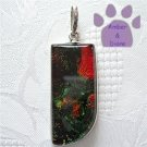 Dichroic Glass Sterling Silver Pendant green and orange