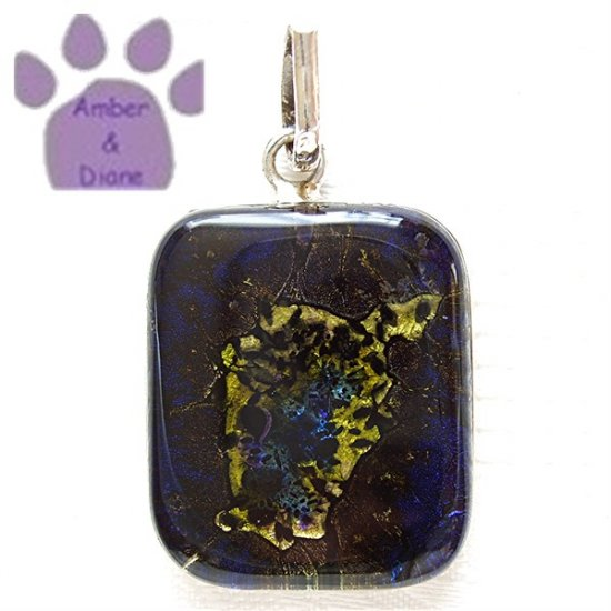 Dichroic Glass Sterling Silver Pendant navy blue, yellow, green