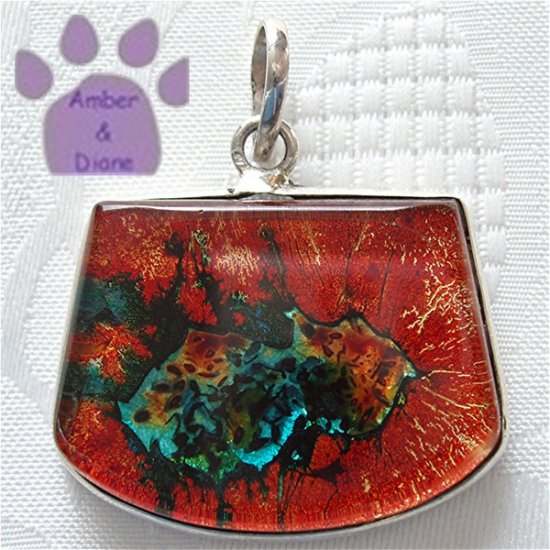 Dichroic Glass Sterling Silver Pendant orange, blue, gold
