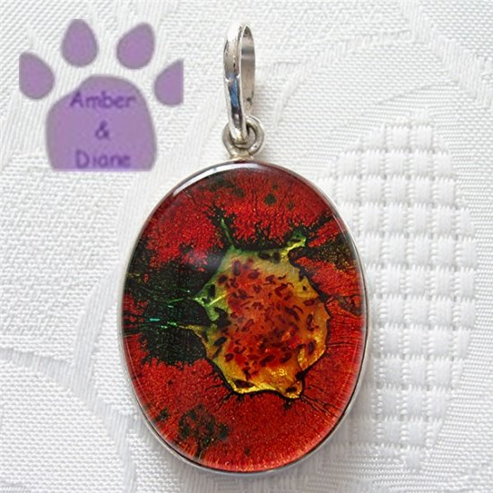 Dichroic Glass Sterling Silver Pendant orange, green, yellow